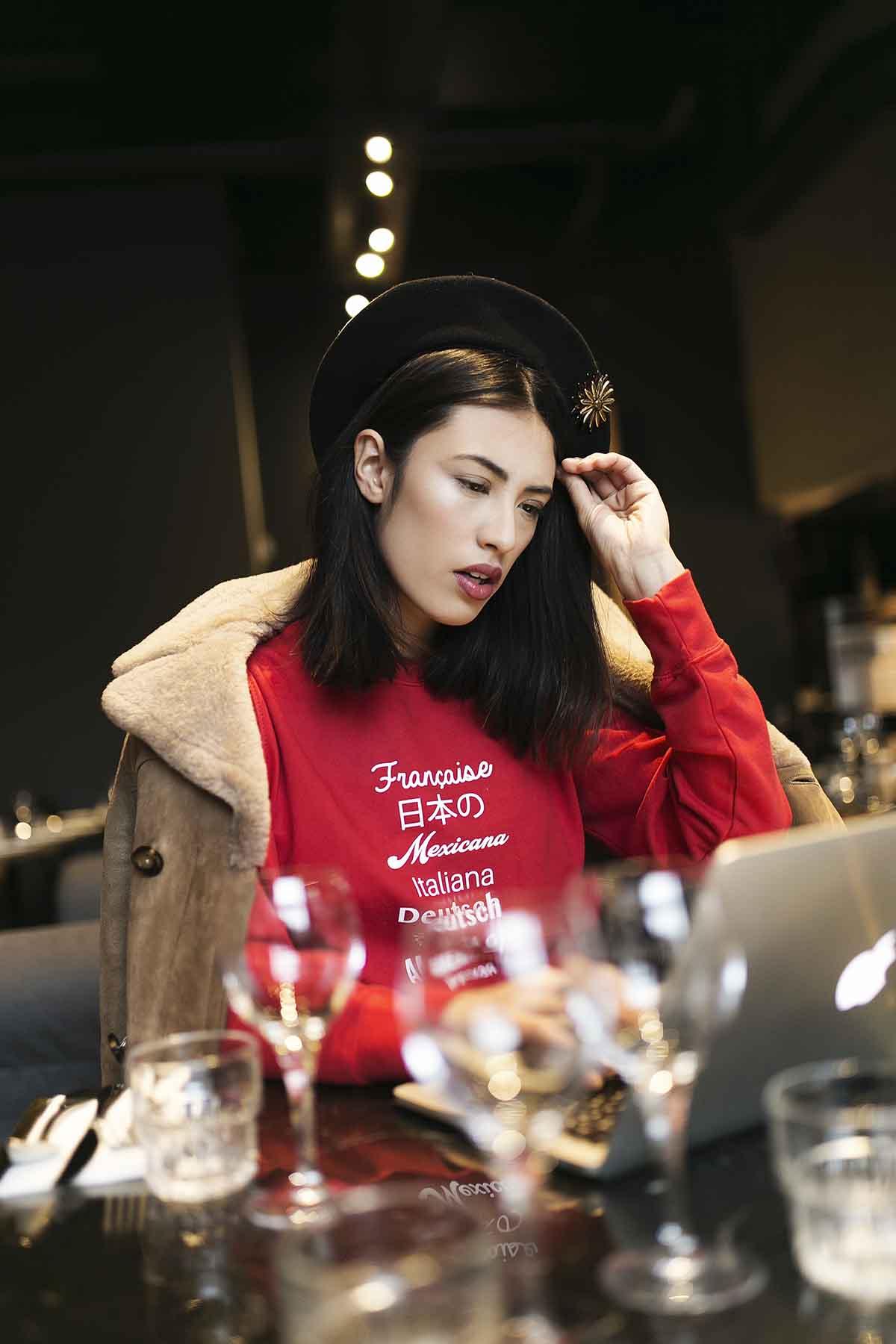 Sweatshirt rouge imprimé femme