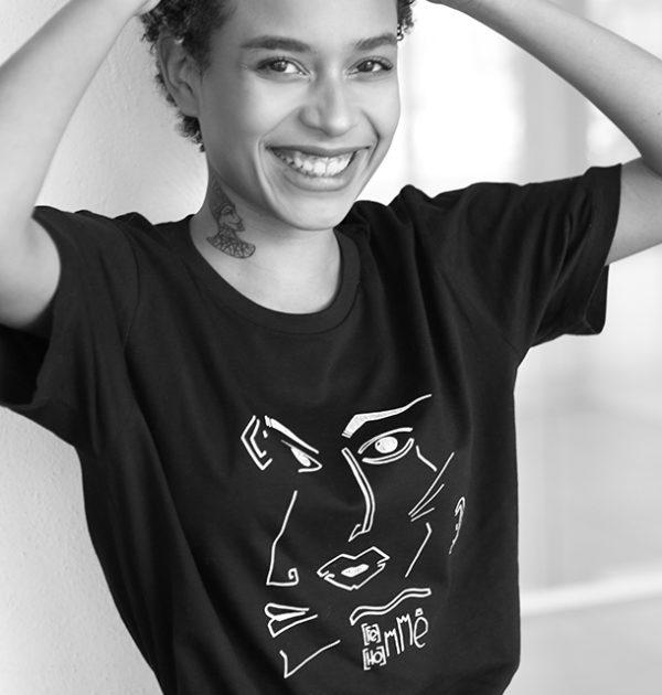 femme-coupe-unisexe-T-shirt Guillaume & Laurie noir