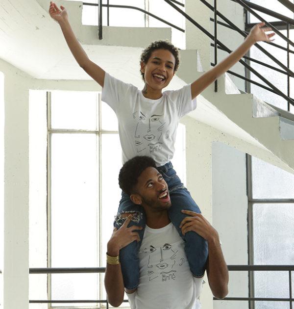 T-shirt blanc-T-shirt Guillaume&Laurie blanc-artistique-féministe