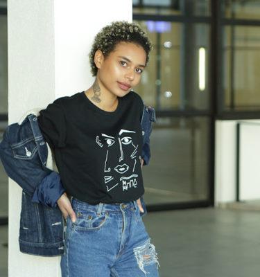 coupe-unisexe-féministe-T-shirt Guillaume & Laurie noir