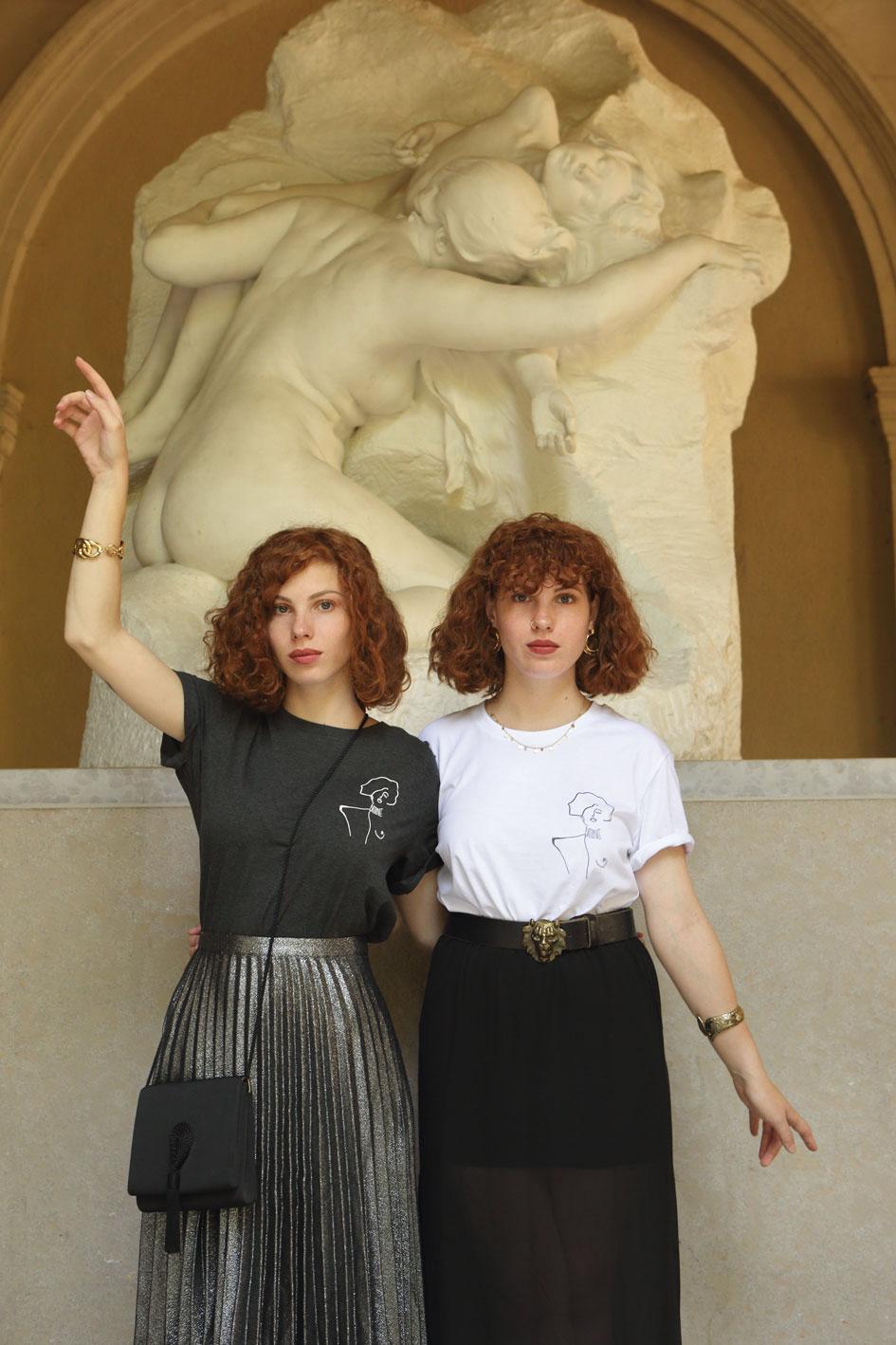 T-shirts en coton bio, gris et blanc, représentant une oeuvre de Gustav Klimt
