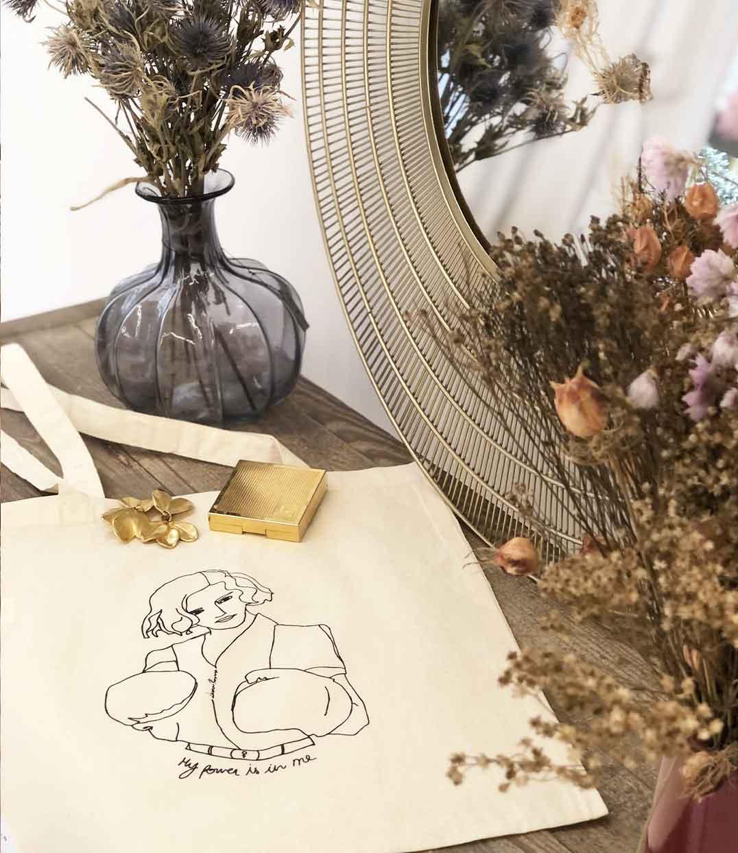 Tote bag Freyja bouquet fleurs séchées