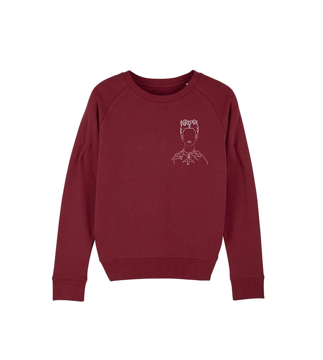 mockup d'un sweatshirt bordeaux, représentant frida kahlp