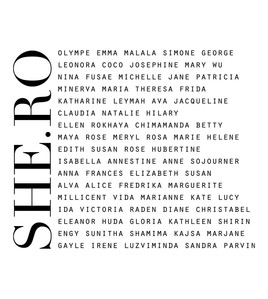 visuel héroïnes, sur ce visuel on retrouve les prénoms de femme qui ont marqués l'histoire