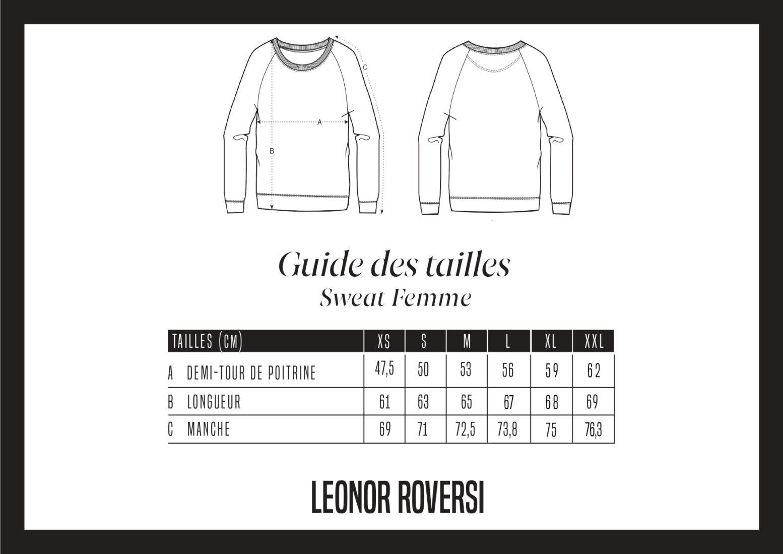 Guide de tailles du sweatshirt femme tripster Leonor Roversi