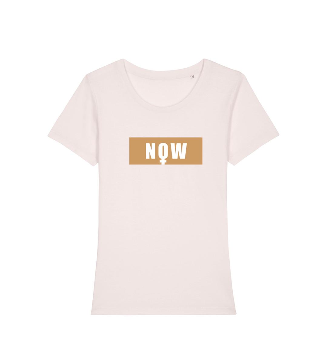 T-shirt NOW en coton bio couleur blanc casé avec l'impression cuivré, Leonor Roversi