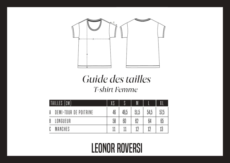 Guide de tailles du t-shirt femme chiller Leonor Roversi