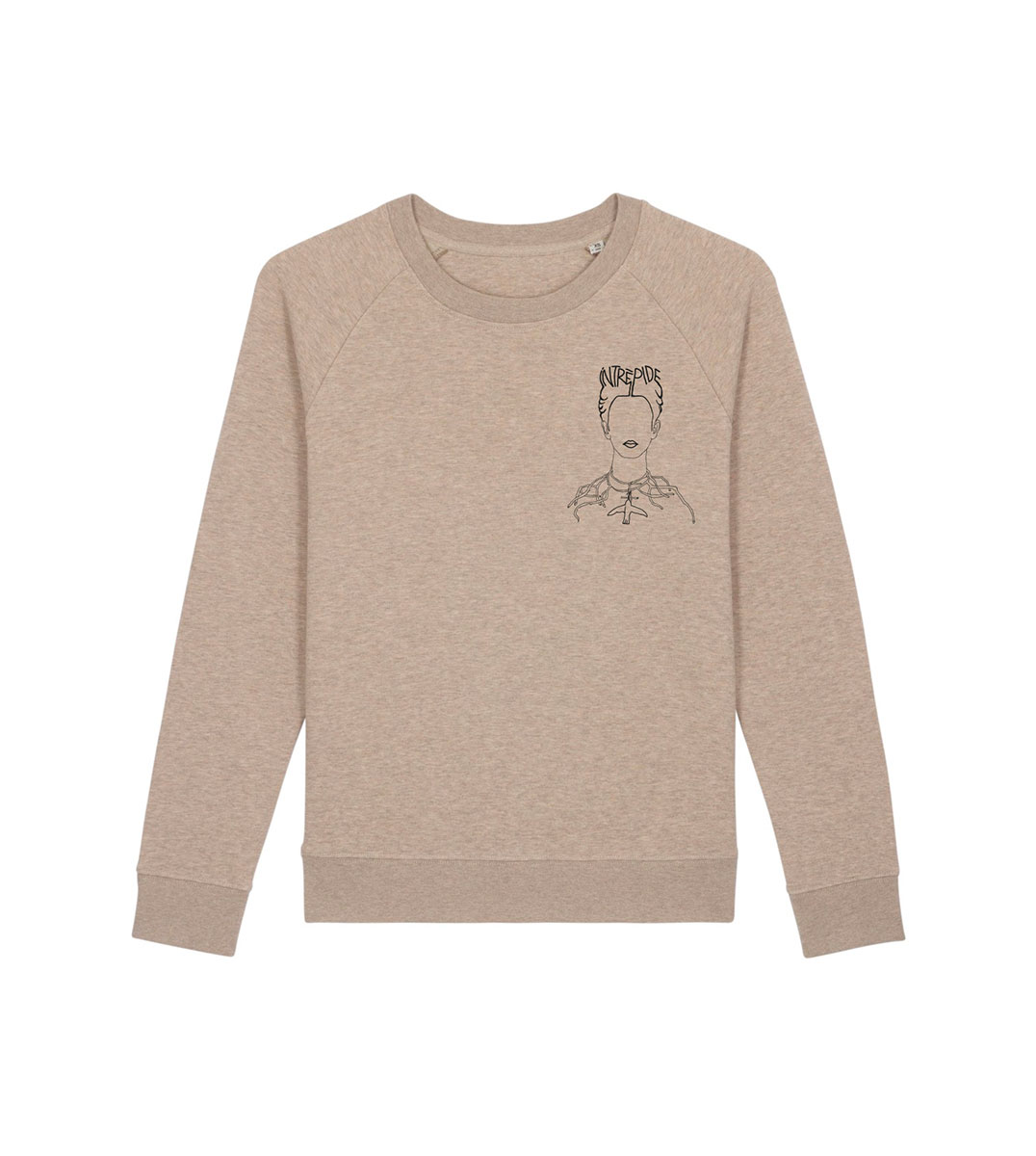 mockup d'un sweat beige en coton bio, sur ce sweatshirt on trouve un dessin représentant frida kahlo