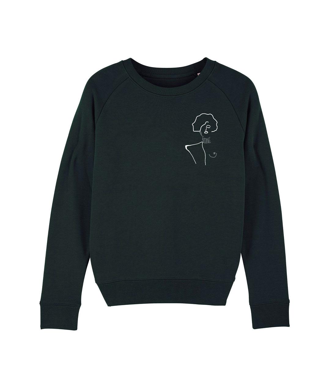 mockup d'un sweatshirt noir en coton bio, sur ce tshirt il y a un dessin artistique qui représente une oeuvre de Gustav Klimt