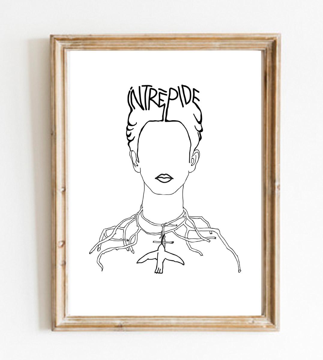 Image d'un cadre en bois avec une affiche A4 d'un visuel inspiré d'un tableau de Frida Kahlo