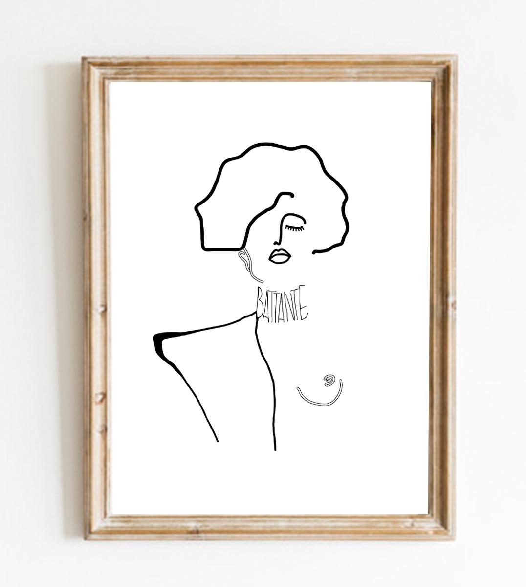 Image d'un cadre en bois avec une affiche A4 d'un visuel inspiré d'un tableau de Gustav Klimt