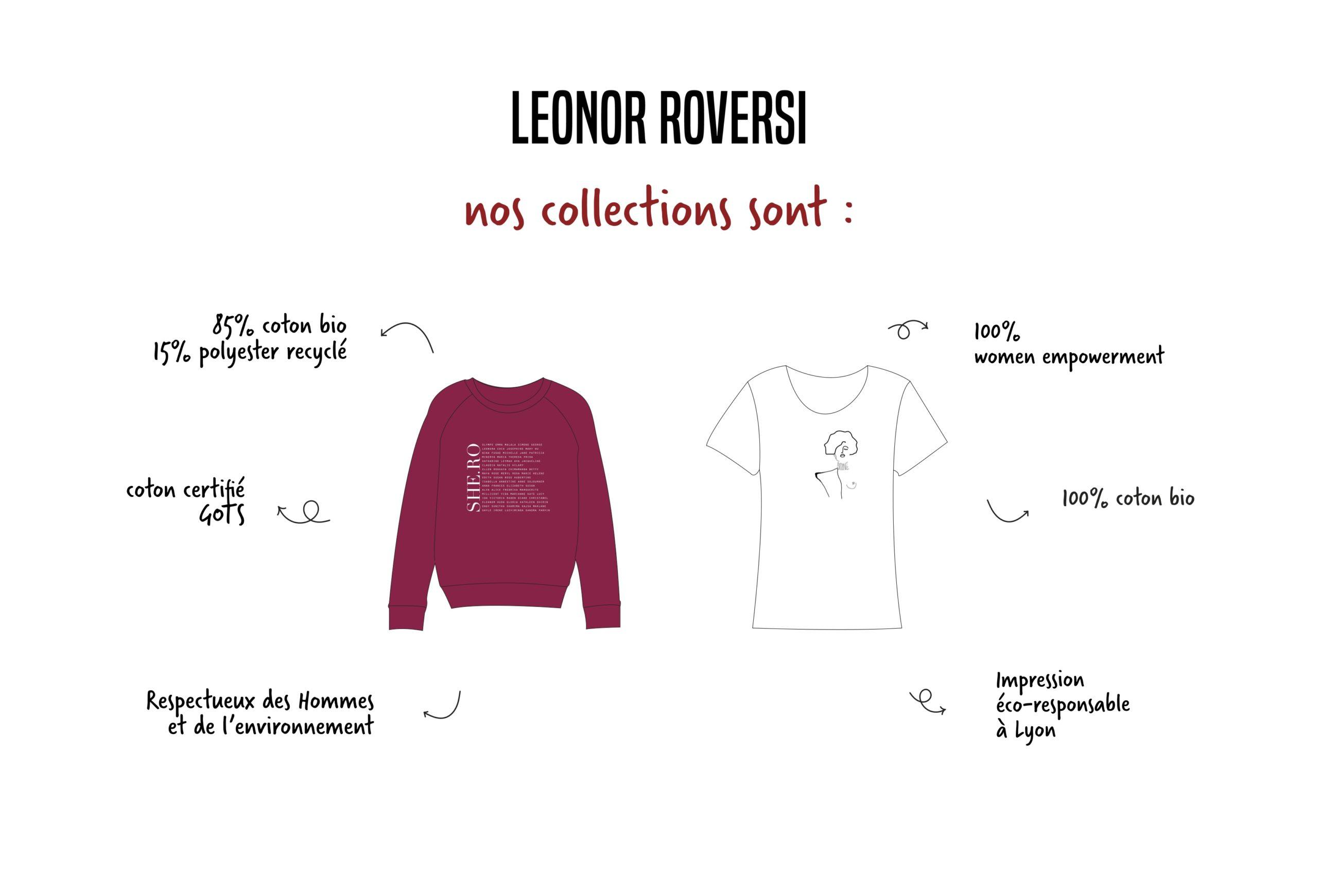 Image avec un tshirt et un sweatshirt Leonor Roversi, une marque éco-responsable et engagée