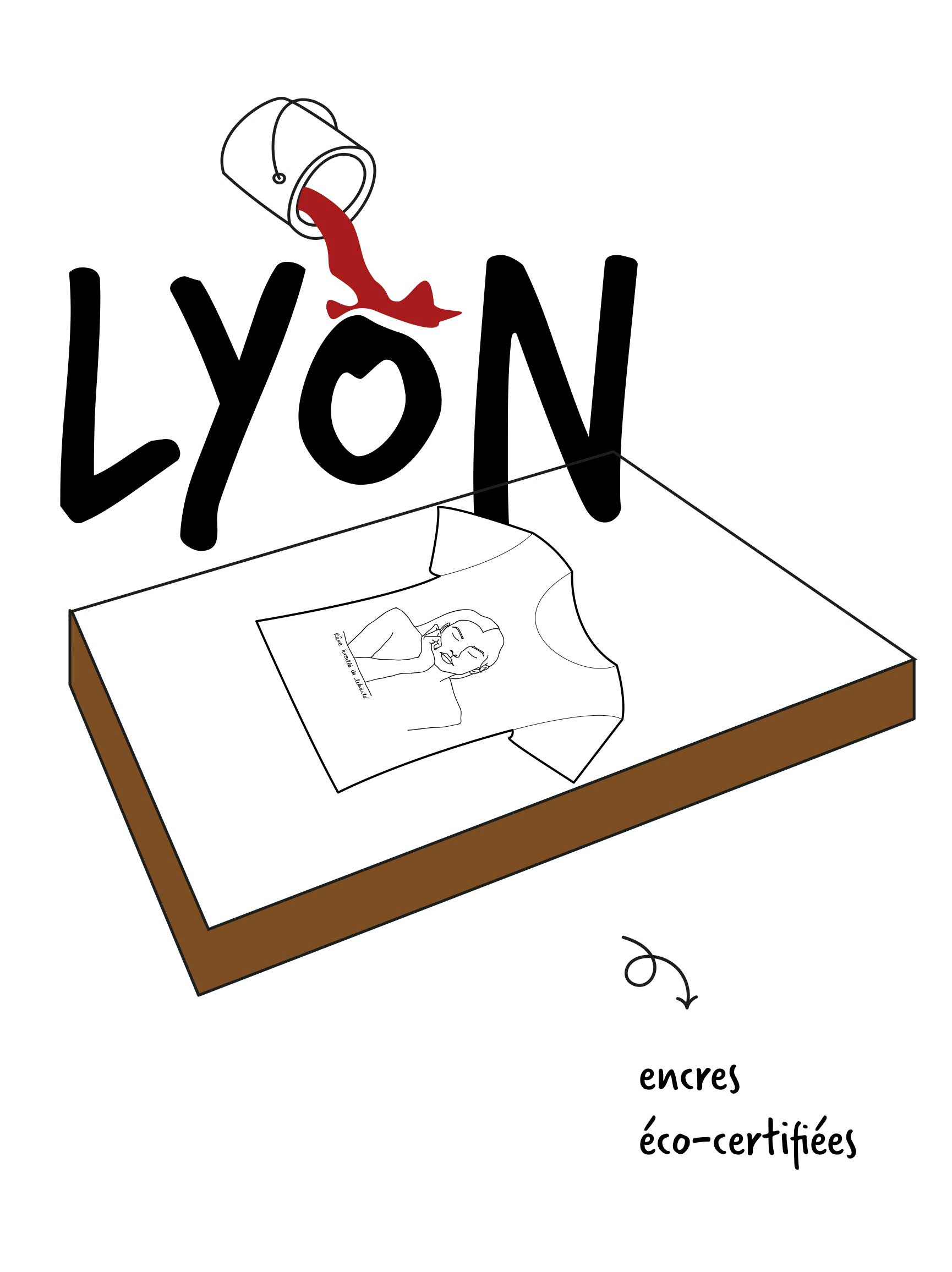 Illustration de l'impression éco-responsable et éthique d'un t-shirt Leonor Roversi à Lyon