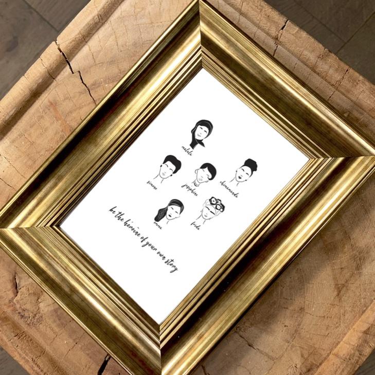carte postale heroine leonor roversi dans cadre pour décoration