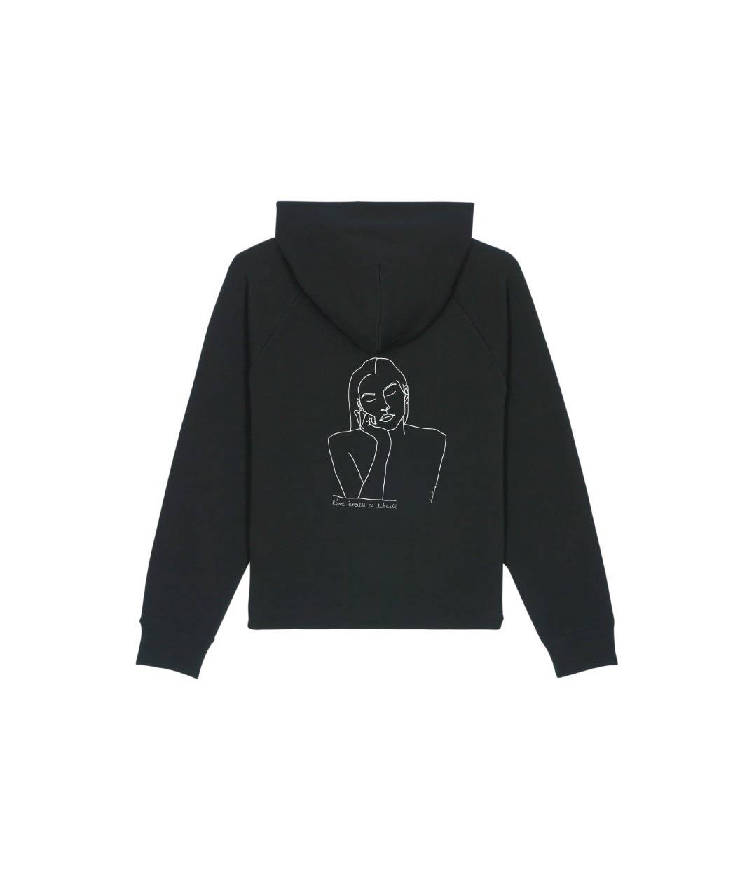 mockup sweatshirt noir à capuche avec dessin themis