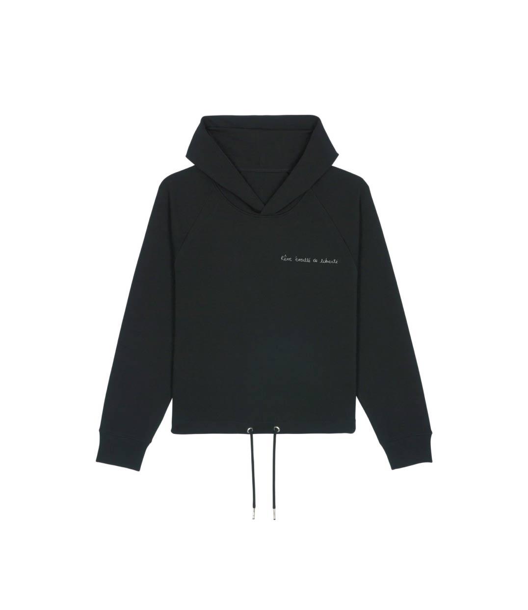 mockup sweatshirt noir à capuche en coton bio avec citation imprimé en blanc