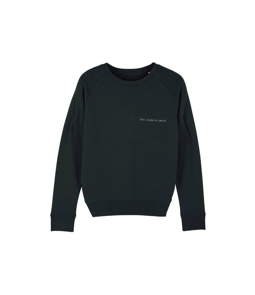 mockup sweatshirt noir avec citation devant