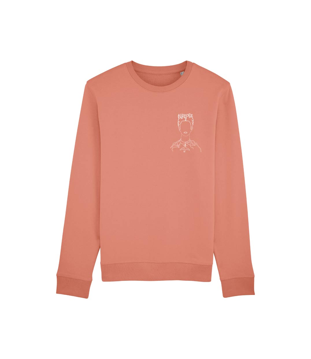 mockup sweatshirt rose pastel avec visuel frida kahlo