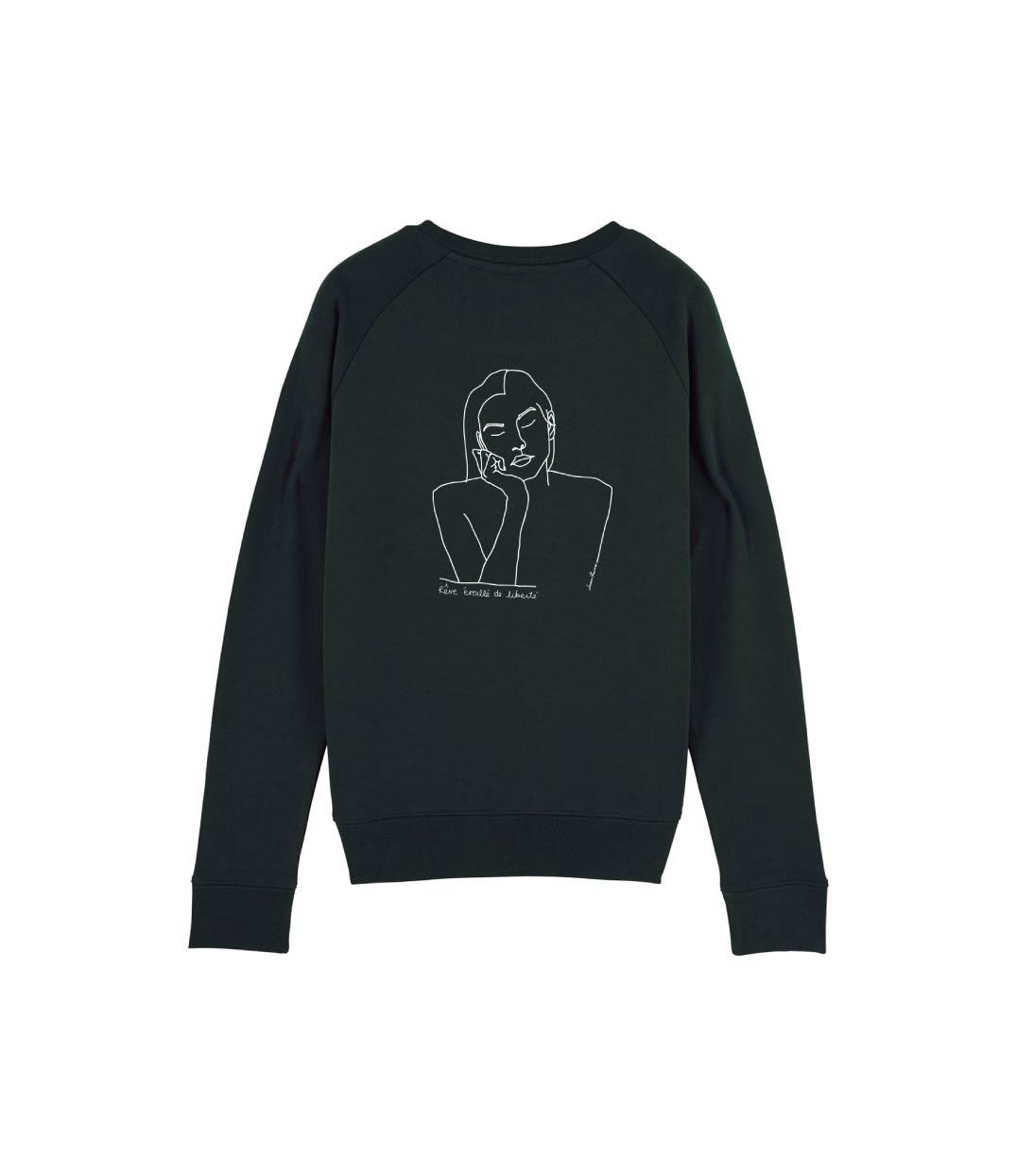mockup sweatshirt noir avec dessin d'une femme