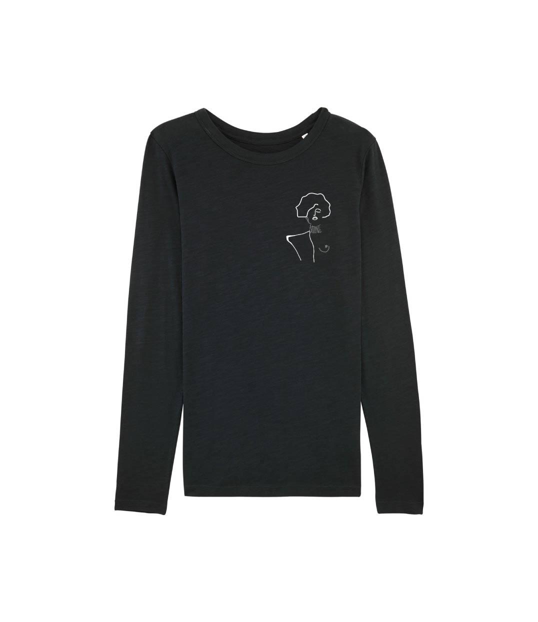 mockup tshirt manches longues noir avec visuel klimt