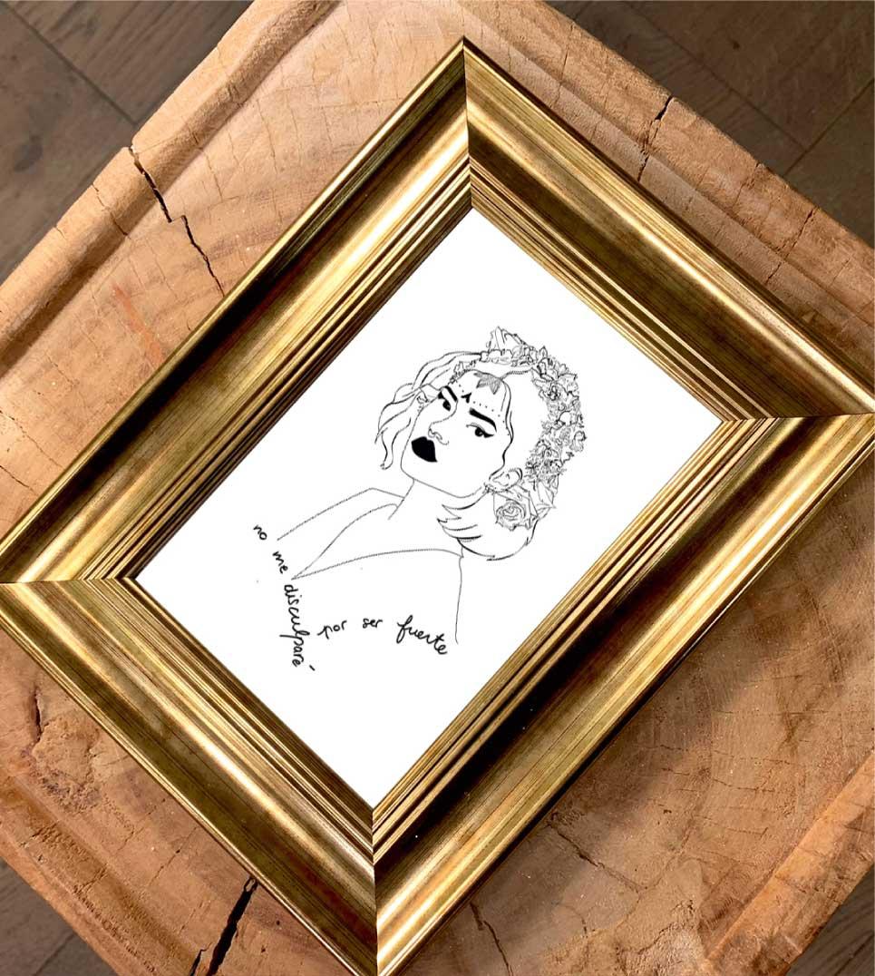 affiche du dessin de lupita dans un cadre doré