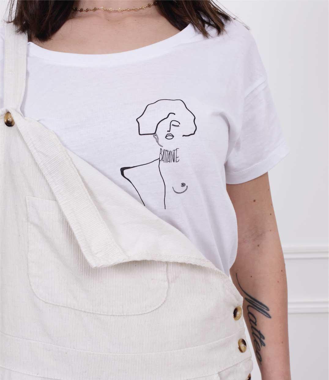 zoom niveau poitrine tshirt klimt loose blanc Leonor Roversi