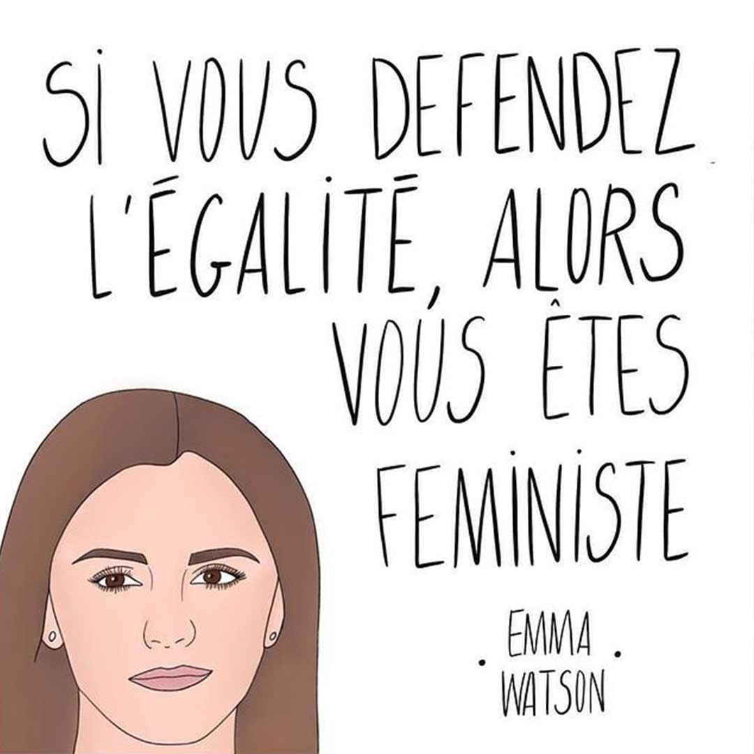 Dessin Emma Watson avec une citation féministe