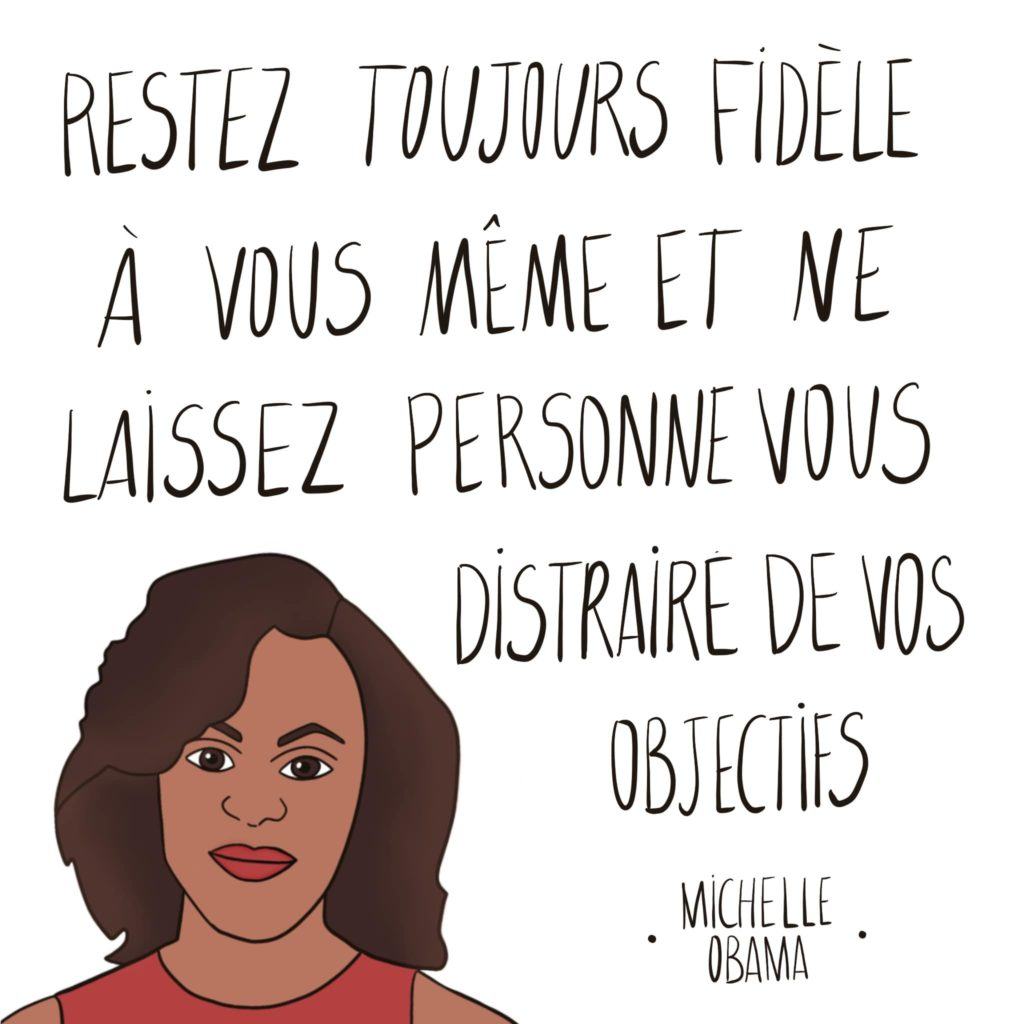 Dessin Michelle Obama par Leonor Roversi avec une citation
