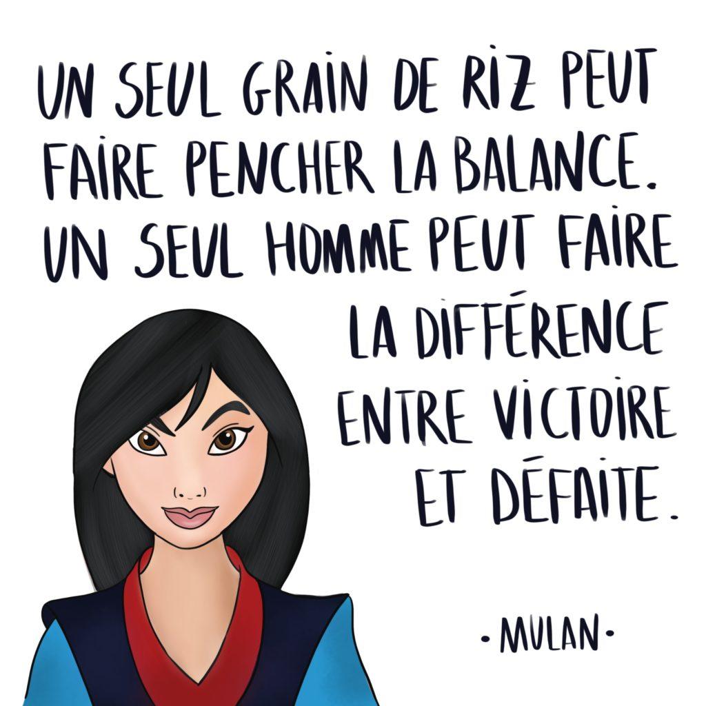 Illustration de Mulan avec citation
